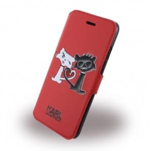 Karl Lagerfeld - KLFLBKP7CL1RE - Choupette In Love - Kunstleder Handytasche / Book Cover - Apple iPhone 7 - Rot