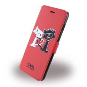 Karl Lagerfeld - KLFLBKP7LCL1RE - Choupette In Love - Kunstleder Handytasche / Book Cover - Apple iPhone 7 Plus - Rot