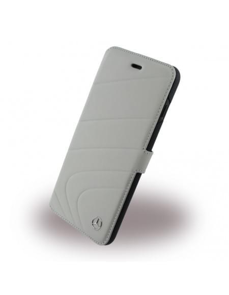 Mercedes Benz - Organic I - MEFLBKP7CLGR - Leder Book Cover - Apple iPhone 7 Plus - Crystal Grau