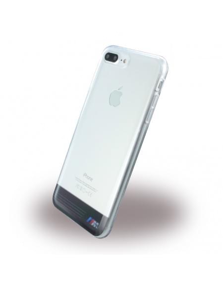 BMW - Silber Streifen BMHCP7LTRGPBK - Silikon Cover - Apple iPhone 7 Plus - Transparent Schwarz
