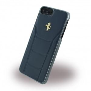 Ferrari - 488 Gold Leder Hardcover - Apple iPhone 8 Plus / 7 Plus - Blau