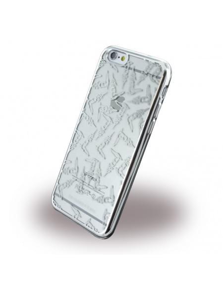 Original Trussardi - TRU6TEXTURE Texture - Silikon Cover / Handyhülle - Apple iPhone 6, 6s - Silber