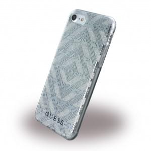 Guess - 3D Effect Aztec Tribal Silikon Cover Apple iPhone 7 / 8 - Silber