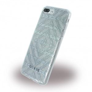 Guess - 3D Effect Aztec Tribal  Silikon Cover - Apple iPhone 8 Plus / 7 Plus - Silber