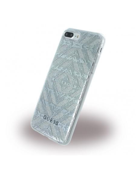 Original Guess - 3D Effect Aztec Tribal GUHCP7LTGSI - Silikon Cover - Apple iPhone 7 Plus - Silber