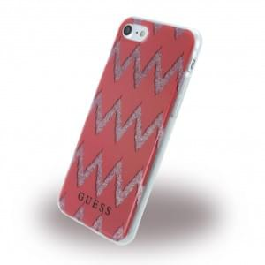 Guess 3D Effect Stripes Chevron Silikon Cover Apple iPhone 7 / 8 Rot