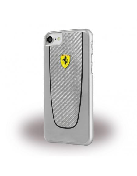 Original Ferrari - Pit Stop FEPICHCP7SI - Real Carbon Hardcover - Apple iPhone 7 - Silber