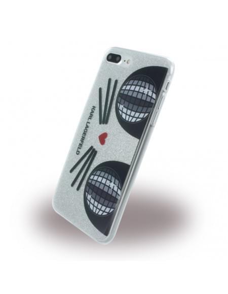 Karl Lagerfeld - K-Kocktail KLHCP7LKKO3DCHS - Glitter Silikon Cover - Apple iPhone 7 Plus - Silber