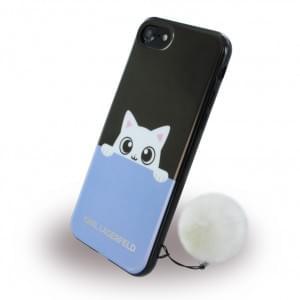 Karl Lagerfeld - KLHCP7PABBL K-Peek A Boo - Silikon Cover - Apple iPhone 7 - Schwarz/Blau