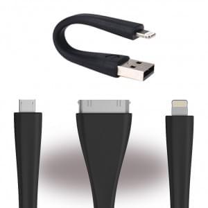 Mophie Memory Flex USB Kabel Reise 3er Set - Schwarz
