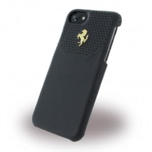 Ferrari - Lusso FEHOGHCP7BK - Leder Hardcover - Apple iPhone 7 - Schwarz / Gold