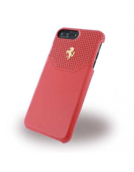 Original Ferrari - Lusso FEHOGHCP7LRE - Leder Hardcover - Apple iPhone 7 Plus - Rot / Gold