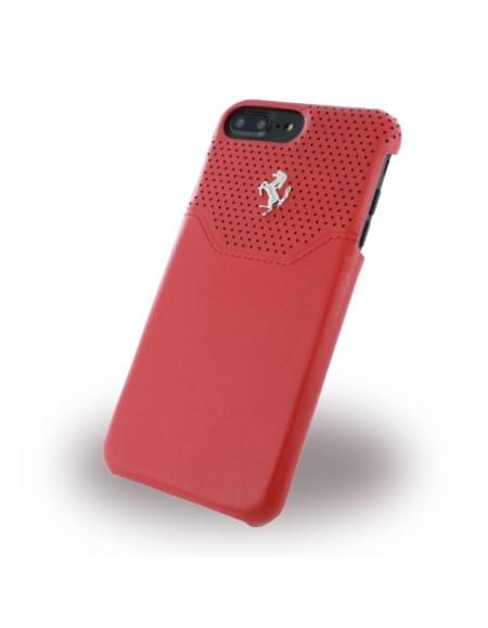 Original Ferrari - Lusso FEHOHCP7LRE - Leder Hardcover - Apple iPhone 7 Plus - Rot / Silber