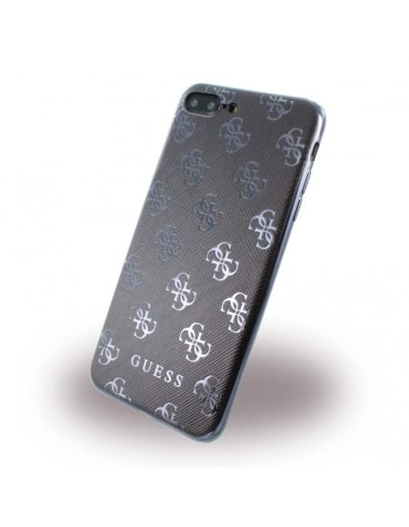 Original Guess - 4G GUHCP7L4GGGU - Silikon Cover - Apple iPhone 7 Plus - Schwarz / Gun Metal