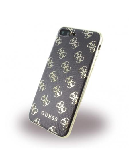 Original Guess - 4G GUHCP7L4GGGO - Silikon Cover - Apple iPhone 7 Plus - Schwarz / Gold