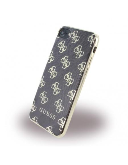 Original Guess - 4G GUHCP74GGGO - Silikon Cover - Apple iPhone 7 - Schwarz / Gold