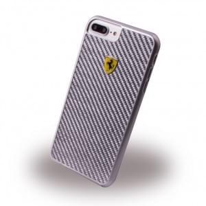 Ferrari - Pit Stop Carbon Hard Cover - Apple iPhone 8 Plus / 7 Plus Silber
