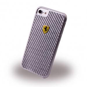 Ferrari - Pit Stop Carbon Hardcover - Apple iPhone 7 / 8 Silber