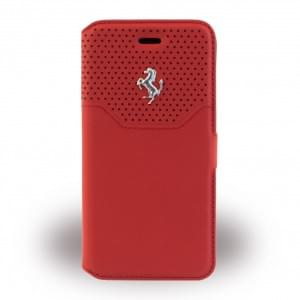 Ferrari Lusso FEHOFLBKP7RE Leder Book Cover für Apple iPhone 7 Silber / Rot