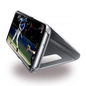 Samsung EF-ZG955CB Clear View Hülle / Standing Cover für Galaxy S8 Plus G955F - Silber