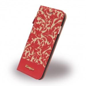 Uunique Damask Book Cover für Apple iPhone 7 / 8 - Rot / Beige