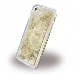 Guess Liquid Glitter Triangle Hardcover für Apple iPhone 7 / 8 - Gold