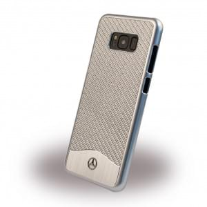 Mercedes Benz Wave V Carbon + Aluminium MEHCS8LCACSI Hardcover / Handyhülle für Samsung Galaxy S8 Plus Silber