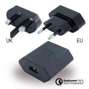 BlackBerry - Reise Ladegerät + EU Clip - Schwarz