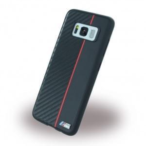 BMW Carbon + Kunstleder Handyhülle für Samsung Galaxy S8 G950F - Schwarz