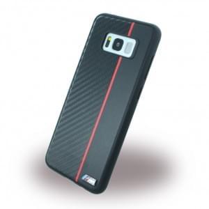 BMW Carbon + Kunstleder Handyhülle für Samsung Galaxy S8+ Plus G955F - Schwarz