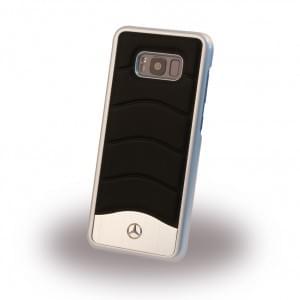 Mercedes Benz Wave III Aluminium / Echtleder Handyhülle für Samsung Galaxy S8 - Schwarz
