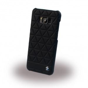 BMW Embossed Hexagon BMHCS8LHEXBK Echtleder Hard Cover für Samsung Galaxy S8 Plus G955F - Schwarz