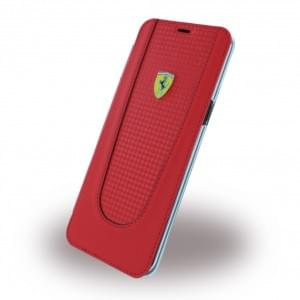 Ferrari - Pit Stop - Carbon Book Cover - Samsung G955F Galaxy S8 Plus - Rot