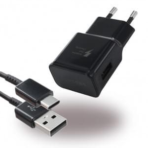 Original Samsung EP-TA20EBE USB Ladegerät + USB Typ C Ladekabel - Schwarz