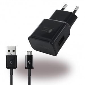 Original Samsung EP-TA20EBE USB Ladegerät + Micro USB Ladekabel - Schwarz
