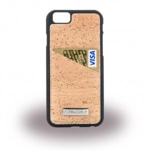 Pelcor Kork Karten Hardcover für Apple iPhone 6 / 6s - Schwarz