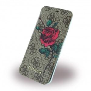 Guess 4G PU Flower Desire Book Cover für Apple iPhone X Braun