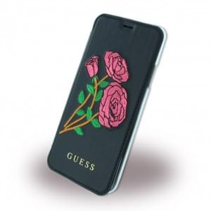 Guess 4G PU Flower Desire Book Cover Apple iPhone X / Xs Schwarz