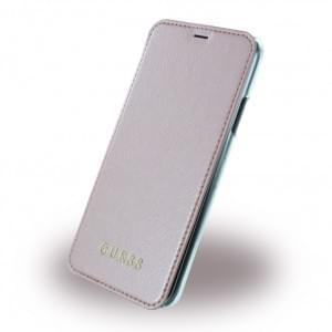 Guess IriDescent Book Cover für Apple iPhone X Rose Gold