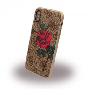 Guess 4G PU Flower Desire Hardcover für Apple iPhone X Braun