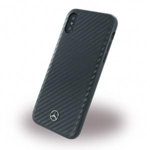 Mercedes Benz Dynamic Carbon Hardcover für Apple iPhone X / Xs - Schwarz