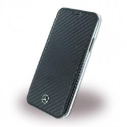 Mercedes Benz Carbon Tasche Book Cover für iPhone XS Max - Schwarz