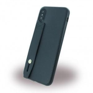 Hand Strap - Kunstleder Silikon Case für Apple iPhone X - Schwarz