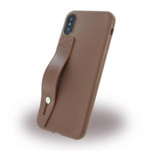 Hand Strap - Kunstleder Silikon Case für Apple iPhone X / Xs - Braun