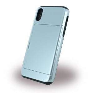 Slid Style - Karten Fach Hardcover für Apple iPhone X - Silber