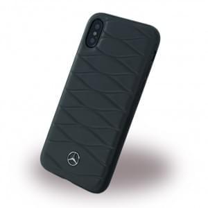 Mercedes Benz Pattern III Echtes Leder Hardcover für Apple iPhone X - Schwarz