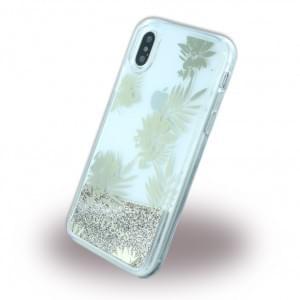 Guess Liquid Glitter Palm Spring - Hardcover für Apple iPhone X / Xs - Gold