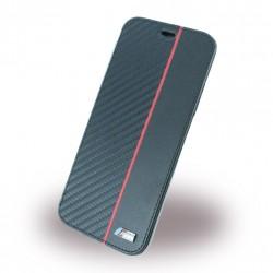 BMW Bi-Material Carbon Tasche / Book Cover für Apple iPhone Xs Max Schwarz / Rot