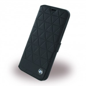BMW Signature Hexagon Echtes Leder Book Cover für Apple iPhone X / Xs - Schwarz