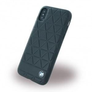 BMW Signature Hexagon Echtleder Hardcover für Apple iPhone X / Xs - Schwarz